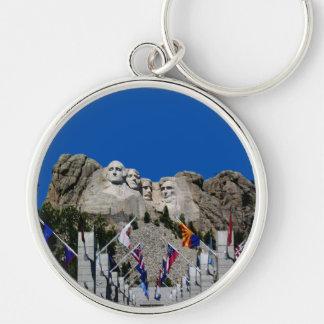 Customizable Mt Rushmore Souvenir Silver-Colored Round Keychain