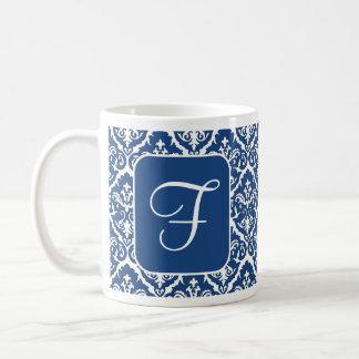 Customizable Mug Blue White Damask print