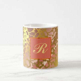 Customizable Mug, pinks and yellowish gold pattern Coffee Mug