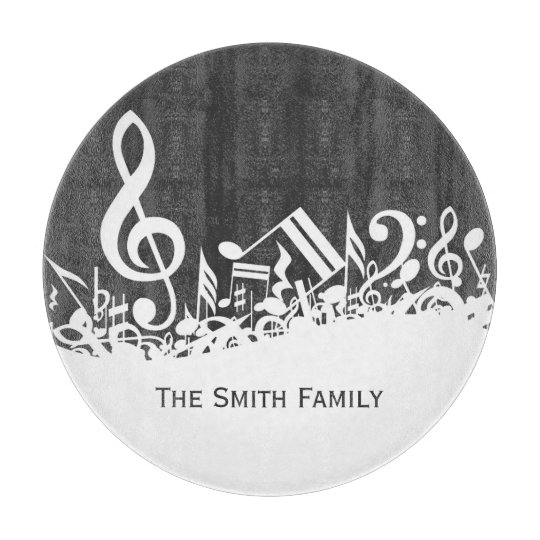 Customizable Musical Notes_Gray Cutting Board