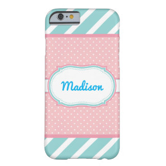 Customizable Name Pink and Blue Stripe iPhone 6/6s Barely There iPhone 6 Case