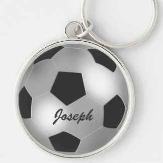 Customizable name silver Soccer Ball Silver-Colored Round Keychain