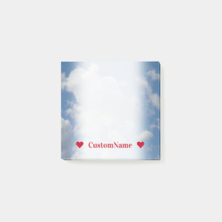 Customizable Name + White/Gray Clouds and Blue Sky Post-it Notes