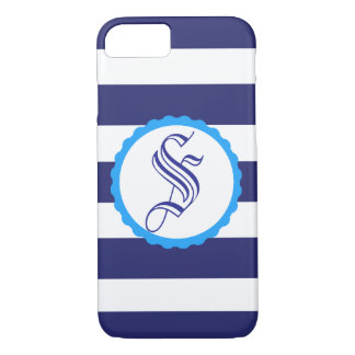 Customizable Nautical Blue Striped iPhone Case