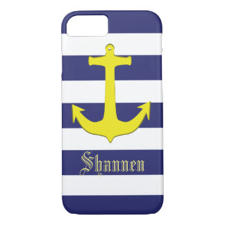 Customizable Nautical Yellow Anchor iPhone Case