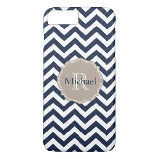 Customizable Navy Blue Unicolor Chevron Pattern iPhone 7 Plus Case