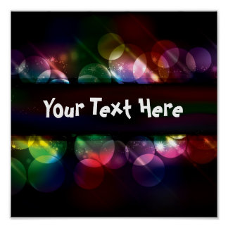 Customizable neon circle light effect background poster