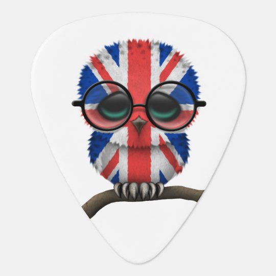 Customizable Nerdy British Baby Owl Chic Guitar Pick