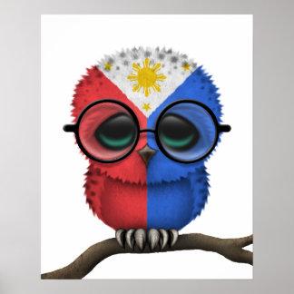 Customizable Nerdy Filipino Baby Owl Chic Print