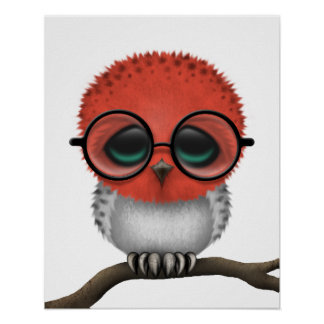 Customizable Nerdy Indonesian Baby Owl Chic Posters