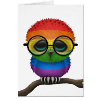Customizable Nerdy Rainbow Gay Pride Baby Owl Chic Card