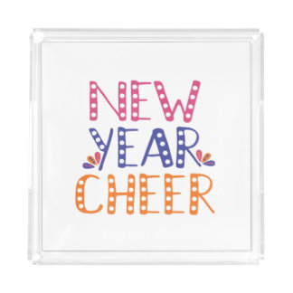 CUSTOMIZABLE New Year Cheer Bright Colors Acrylic Tray