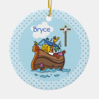 Customizable Noah's Ark Baby Baptism, Boy Blue Ceramic Ornament