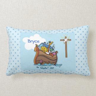 Customizable Noah's Ark Baby Baptism, Boy Blue Lumbar Pillow