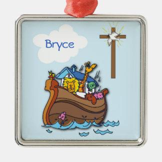 Customizable Noah's Ark Baby Baptism, Boy Blue Metal Ornament