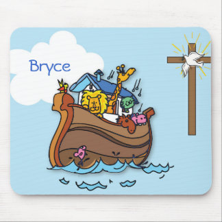Customizable Noah's Ark Baby Baptism, Boy Blue Mouse Pad