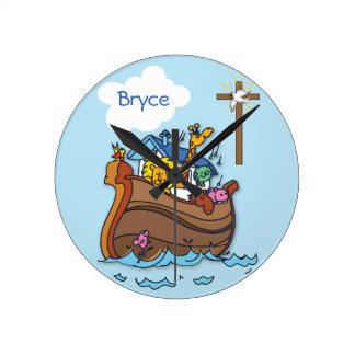 Customizable Noah's Ark Baby Baptism, Boy Blue Round Clock