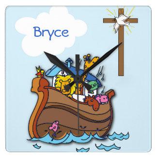Customizable Noah's Ark Baby Baptism, Boy Blue Square Wall Clock