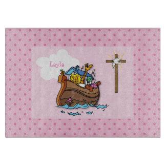 Customizable Noah's Ark Baby Baptism, Girl Pink Cutting Board