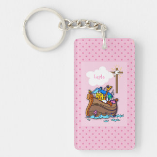 Customizable Noah's Ark Baby Baptism, Girl Pink Keychain