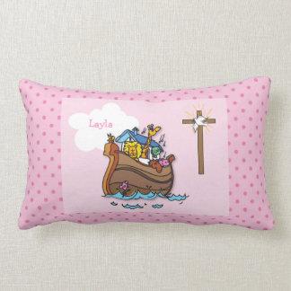 Customizable Noah's Ark Baby Baptism, Girl Pink Lumbar Pillow