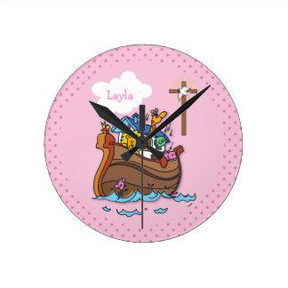 Customizable Noah's Ark Baby Baptism, Girl Pink Round Clock