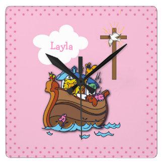 Customizable Noah's Ark Baptism, Girl Pink Square Wall Clock