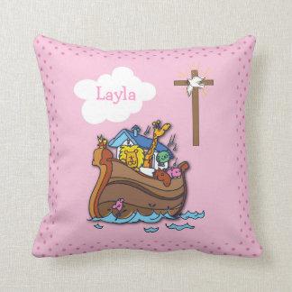 Customizable Noah's Ark Baptism, Girl Pink Throw Pillow