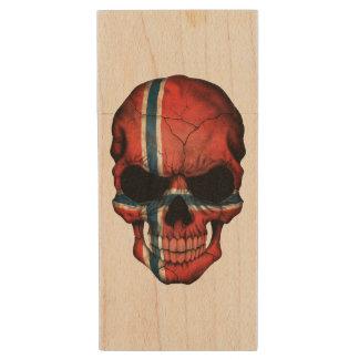 Customizable Norwegian Flag Skull Wood USB 2.0 Flash Drive