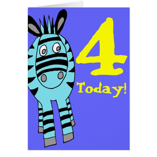customizable number zebra birthday card