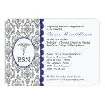 "Customizable Nurse Graduation BSN RN blue damask 5"" X 7"" Invitation Card"