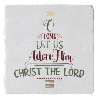 CUSTOMIZABLE O Come Let Us Adore Him Trivet