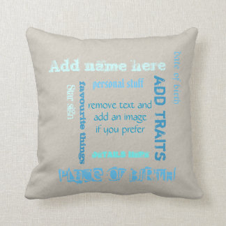 Customizable oat teal chalkboard wordcloud add tag throw pillow