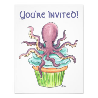 Customizable Octopus Cupcake Birthday Invite