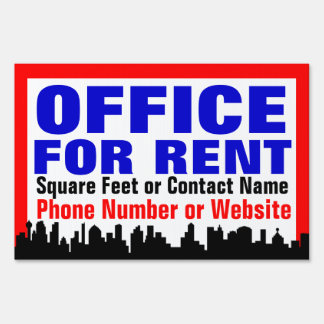 Customizable Office For Rent Sign /Yard Sign