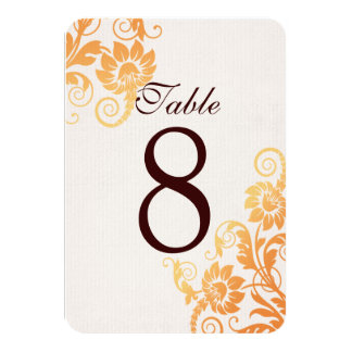 Customizable Ombre Fall Table Number Cards Personalized Invite