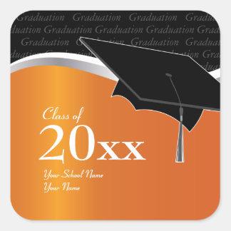 Customizable Orange and Black Graduation Sticker