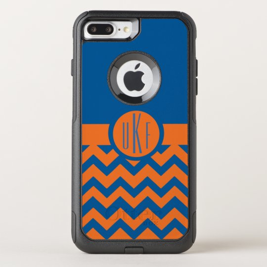 Customizable Orange and Blue Monogram OtterBox Commuter iPhone 7 Plus Case