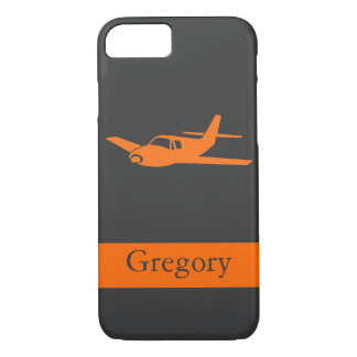 Customizable orange gray airplane iPhone 7 case