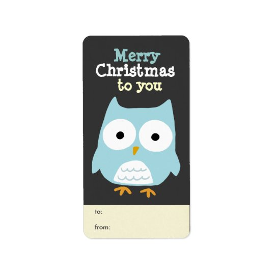 Customizable Owl Merry Christmas Tag