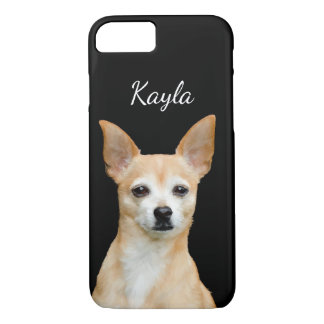 Customizable painted chihuahua on black background iPhone 8/7 case