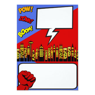 Customizable Party Invitation: super hero birthday Card