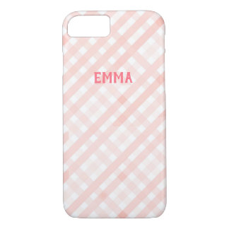 Customizable Pastel Pink Gingham iPhone 7/8 Case