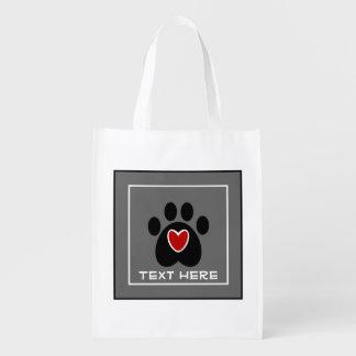 Customizable Paw Print and Heart Reusable Grocery Bag