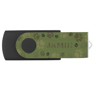 Customizable, Paw Print Camouflage USB Drive Swivel USB 3.0 Flash Drive