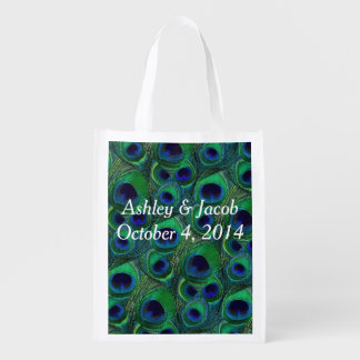 Customizable Peacock Feather Reusable Tote Bag