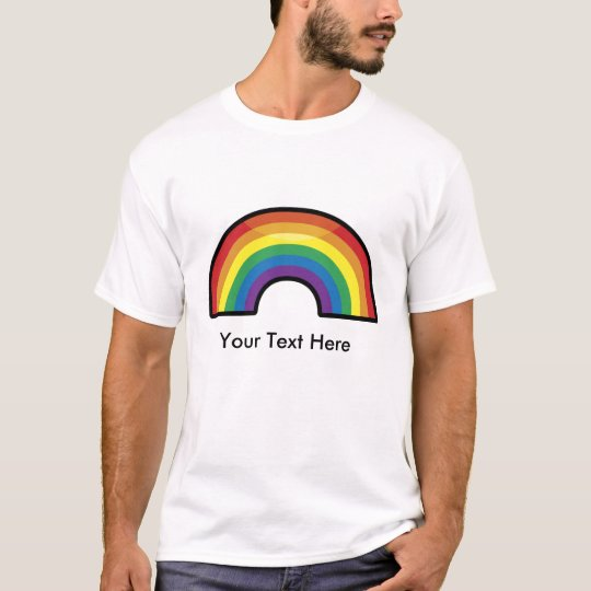 Customizable, Personalized Rainbow (black border) T-Shirt