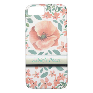 Customizable phone case with peach floral design