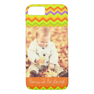 Customizable photo and text colorful chevron iPhone 7 case