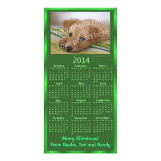 Customizable Photo Card 2014 Calendar Green Xmas